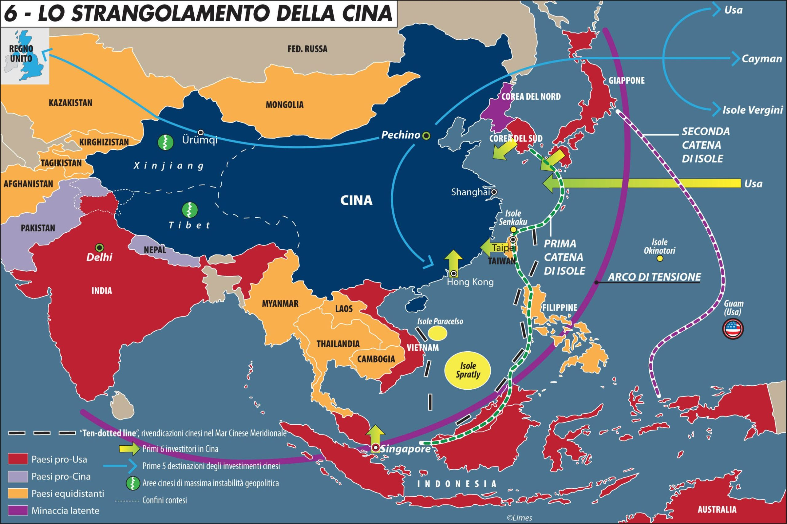 mappa geopolitica della Cina